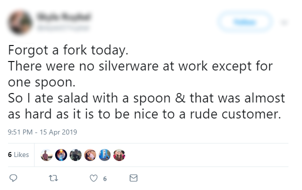 Tweet - Lack of Silverware