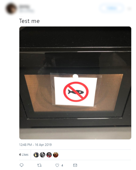 Tweet - Microwaving fish