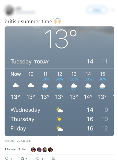 Tweet showing a weather forecast for rain in the summer