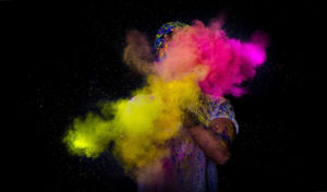 Man throwing powder paint
