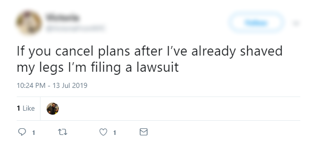 Tweet about Cancelling plans