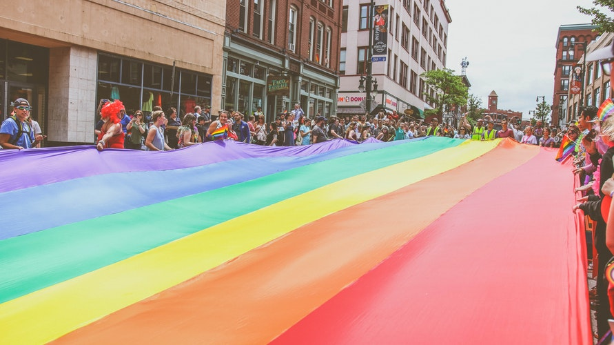 Large LGBTQ+ Flag in the Street