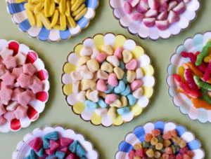 Plates full of different sweets