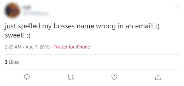 Tweet about emailing the wrong name