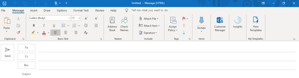 Outlook Email Header