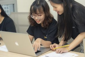 Group of Girls working around a computer