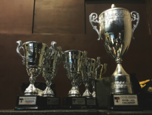 Group of trophies and prize cups
