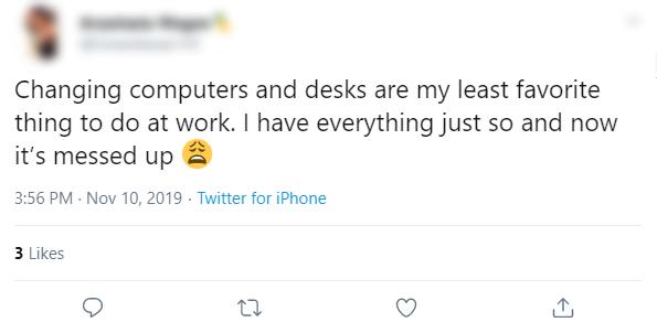 Changing Desk Annoyed Tweet